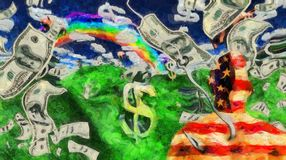 Money USD. Surreal painting. Man in US national colors on a hook. Clouds in shape of dollar sign, rain of dollars. Human elements were created with 3D software Royalty Free Stock Photography