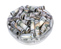 Money in a vase. оn a white background stock photos