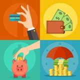 Money vector commercial group payment investment bag graphic finance safepay earning cash wallet. Stock Image
