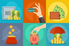 Money vector commercial group payment investment bag graphic finance safepay earning cash wallet. Royalty Free Stock Photos