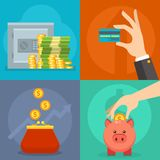 Money vector commercial group payment investment bag graphic finance safepay earning cash wallet. Stock Photos
