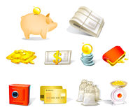 Money vector icons. Vector illustration of money icons Royalty Free Stock Photo
