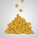Money vector illustration. Background with falling golden coins  on a white background. A mountain of gold coins Royalty Free Stock Photos