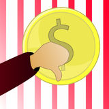 Money. Vector illustration Symbol wealth. The coin and Dollar the Sign cent are isolated against the background of America a flag. Finger down Growth Stock Image