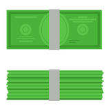Money vector illustration. Top and ront view single flock of cash flat icon. American dollars, pack, packet. Modern Stock Photos