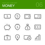 Money vector outline icon set. Different money vector icons on the white background. Cash, wallet, credit card, moneybox, shield, fortune, bank, idea, business Royalty Free Stock Photography