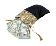 Money in a Velvet Drawstring Bag Stock Photo