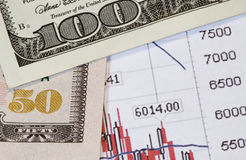 Money versus stocks. A stock market trend printout with 50 and 100 dollar US currency Stock Images