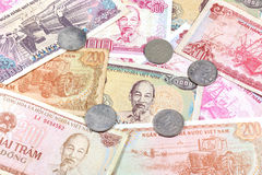 Money from Vietnam, various banknotes and coins Royalty Free Stock Photo