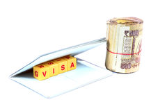 Money and visa Royalty Free Stock Photo