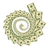 Money vortex icon. Set a various kind of money. Dollar money vortex bills fly. Flat vector cartoon money illustration. Objects isolated on a white background Stock Image