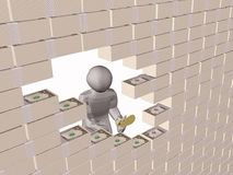 Money wall. Gray 3d man and broken money wall Stock Photography