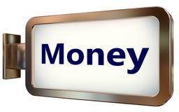 Money on billboard background. Money on wall light box billboard background , isolated on white Stock Photos
