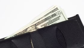 Money and Wallet. Leather wallet with money in it Stock Photo