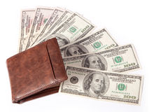 Money in Wallet. US dollar money in wallet, in white background Stock Photography