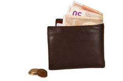 Money in wallet. Over a white background Stock Photos