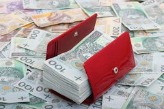 Money and wallet. Red wallet and Polish money Stock Image