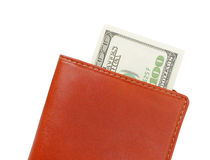 Money wallet. Some dollar in red wallet Royalty Free Stock Photography