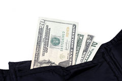 Money and Wallet. Isolated photo of black wallet and us dollar bills Stock Images