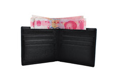 Money in Wallet. CNY Chinese money renminb RMB and a  wallet, isolated in white background Stock Images
