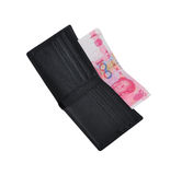 Money in Wallet. CNY Chinese money renminb RMB and a  wallet, isolated in white background Stock Photo