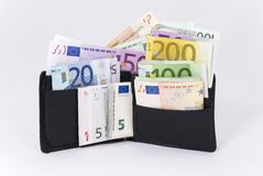 Money Wallet. Wallet Full of Euros (photo with clipping path Royalty Free Stock Photography