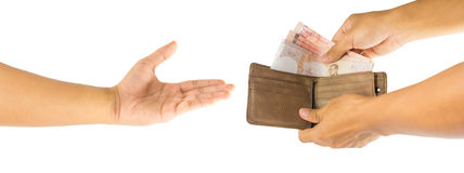 Money and wallet in hand Stock Image