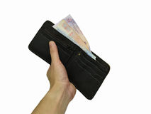 Money in Wallet in hand Stock Image