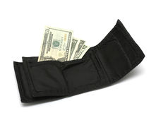 Money and Wallet II. Isolated photo of black wallet and us dollar bills Stock Photo