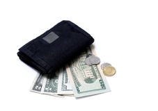 Money and Wallet II. Isolated photo of black wallet, us dollars and coins Stock Photography