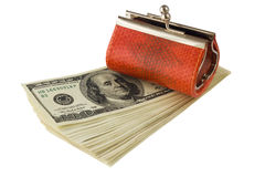 Money and wallet, isolated. Orange leather wallet on stack of money, isolated on white Royalty Free Stock Photos