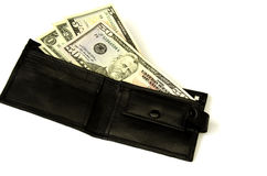 Money in  wallet. Isolated. Stock Photos