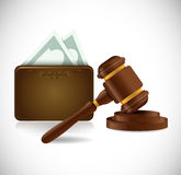 Money wallet and law hammer illustration design Royalty Free Stock Photos