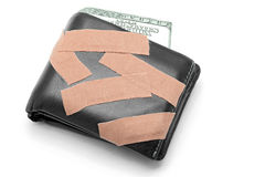 Money in Wallet with Medical Plaster Stock Photos