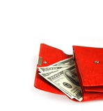 Money wallet red, happy shopping Royalty Free Stock Images