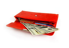 Money wallet red, happy shopping Stock Photography