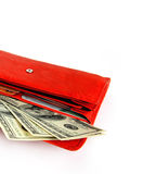 Money wallet red, happy shopping Stock Photo