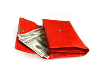 Money wallet red, happy shopping Stock Images