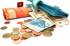Money in wallets Royalty Free Stock Images