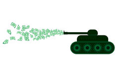 Money war. Draw of many money and war tank Stock Images