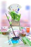 Money wash money. The denomination in hundred euros washes cash Stock Photos