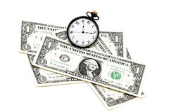 Money and watch Royalty Free Stock Photography