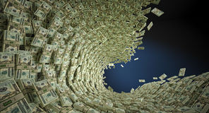 Money wave. A big wave of dollar bills Stock Image