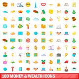 100 money and wealth icons set, cartoon style. 100 money and wealth icons set in cartoon style for any design vector illustration Stock Image