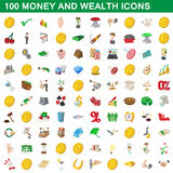 100 money and wealth icons set, cartoon style. 100 money and wealth icons set in cartoon style for any design vector illustration Stock Photo