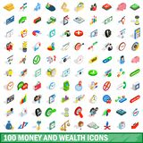 100 money wealth icons set, isometric 3d style. 100 money wealth icons set in isometric 3d style for any design illustration stock illustration
