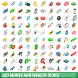 100 money wealth icons set, isometric 3d style. 100 money wealth icons set in isometric 3d style for any design vector illustration royalty free illustration