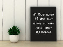 Money,Wealth, Success concept. Inspirational motivating quote. 3d render Stock Photography