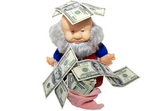 Money and wealthy gnome Royalty Free Stock Image