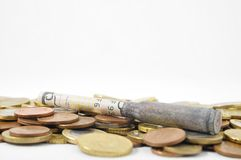 Money and Weapons Concept Bullet and Money Stock Image